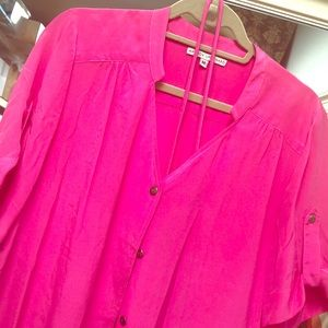 Bright pink button down dress